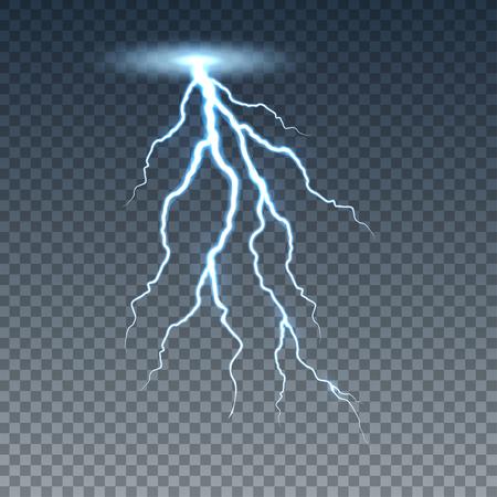 Realistische bliksem en donderbout. Illustratie geïsoleerd op transparante achtergrond. Grafisch concept voor uw ontwerp