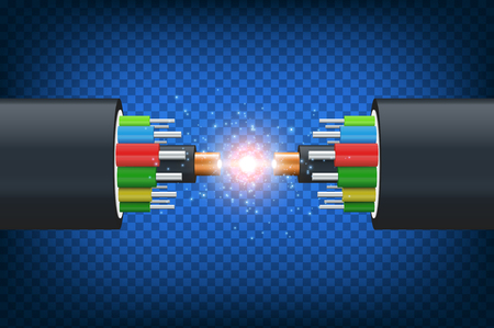 Fiber optical cable. Illustration isolated on blue background. Graphic concept for your design