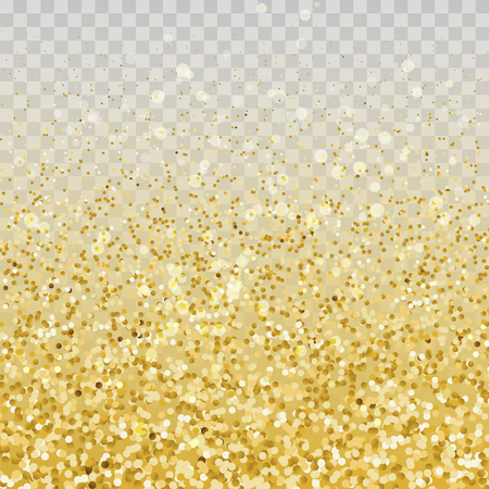 Gold glitter particles and lights effect on transparent background. Graphic concept for your design
