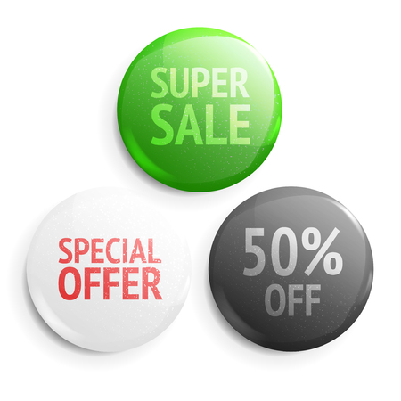 Set of glossy sale buttons. Illustration isolated on white background. Graphic concept for your design Vettoriali