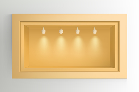 Showcase with light sources. Illustration isolated on background. Graphic concept for your design Illusztráció