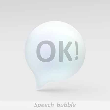 Realistic bubble speech. Illustration isolated on grey background. Graphic concept for your design