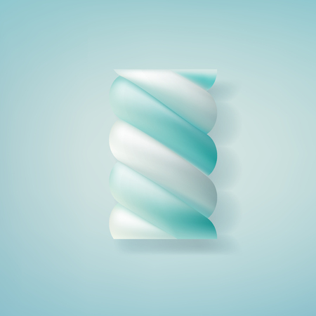 Realistic marshmallow candy. Illustration isolated on blue background. Graphic concept for your design