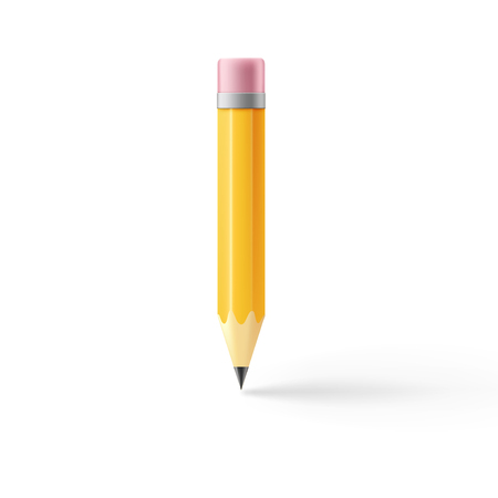 Realistic pencil icon. Illustration isolated on white background. Graphic concept for your design