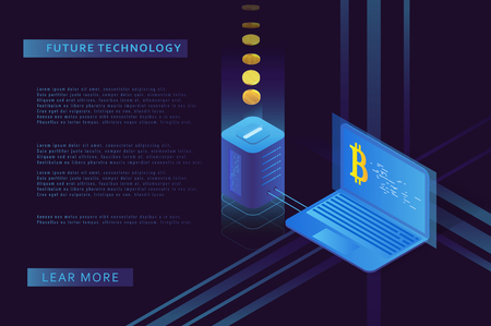 Cryptocurrency and blockchain illustration. Bitcoin mining farm. Artificial intelligence and machine learning. Concept for landing page for creating digital currency. Çizim
