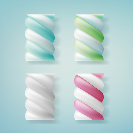 Realistic marshmallows candy. Illustration isolated on blue background. Graphic concept for your design
