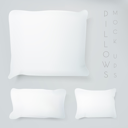 Realistic pillows with real shadow. Pillows mock ups illustration. Graphic concept for your design. Ilustração
