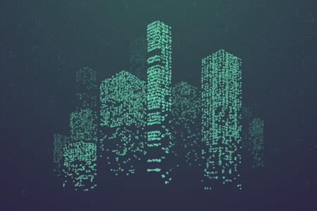 Gloeiende deeltjes in de vorm van een futuristische skyline van de stad. Futuristisch stippenpatroon, abstracte binaire codeillustratie
