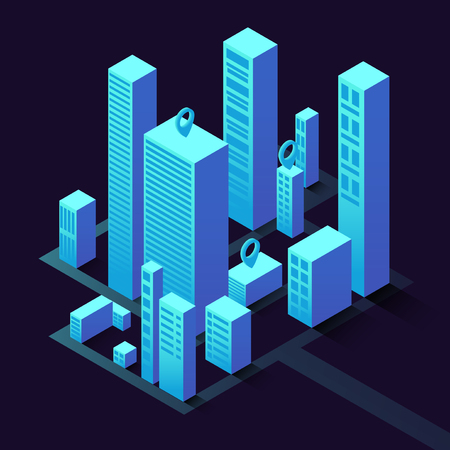Isometric illustration with buildings. Commercial real estate for your business. Graphic concept for your design.