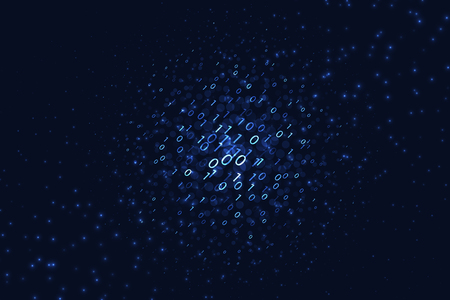 Binary code background. Graphic concept with glowing elements on dark background for your design