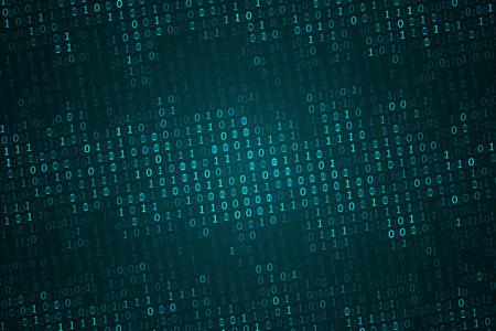 Binarny kod komputerowy tło, abstrakcyjna cyberprzestrzeń z cyfrowym kodem. Koncepcja graficzna dla Twojego projektu