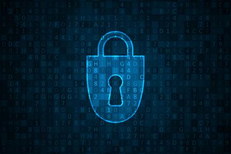 Illustrazione di sicurezza informatica. Rete futuristica o analisi aziendale. Concept grafico per il tuo design Vettoriali