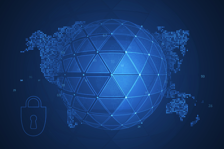 Global network security. Futuristic network or business analytics. Graphic concept for your design