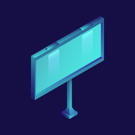 Blank billboard. Isometric illustration isolated on dark background. Graphic concept for your design