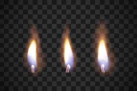 Realistic flame candles with the effect of transparency. Illustrations isolated on transparent background. Creative idea for your design