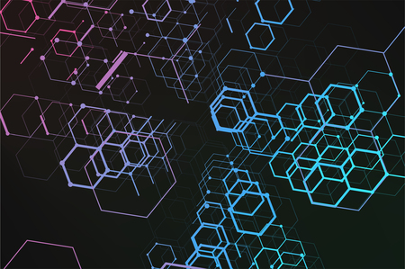 Abstract technology background. Consisting of set of hexagonal cells. Polygonal concept for your design