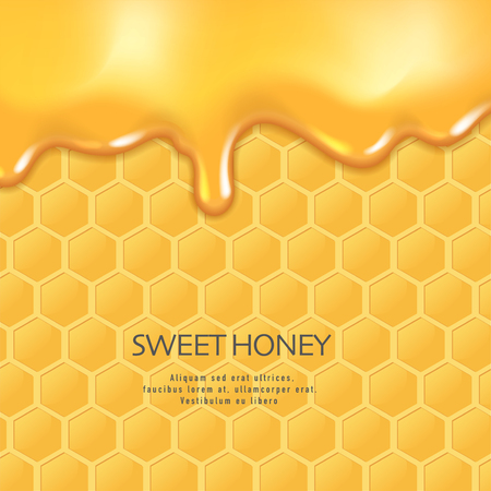 Background with honeycombs and honey. Graphic concept for your design