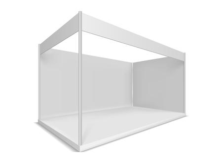 Messestand. Illustrationen auf weißem Hintergrund. Grafisches Konzept für Ihr Design