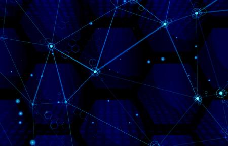 Abstract technology background. Wireframe polygonal landscape. Digital innovation illustration. Vektorové ilustrace
