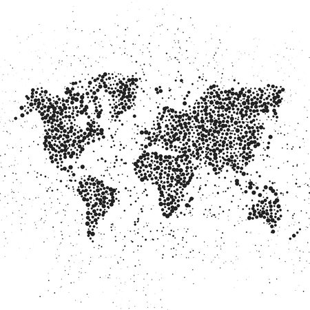 Dotted world map. The concept illustration of globe 版權商用圖片