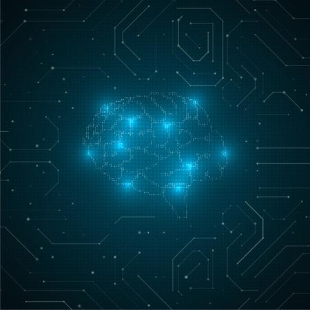 Illustrazione astratta del cervello. Concetto grafico di rete futuristica. Avanzamento tecnologico dell'intelligenza artificiale