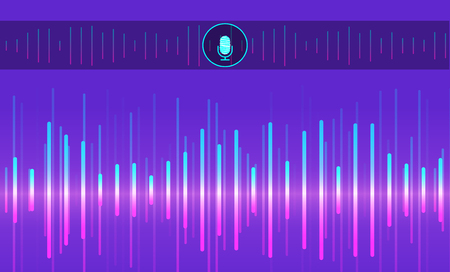 Personal assistant and voice recognition concept. Visualization sound imitation lines