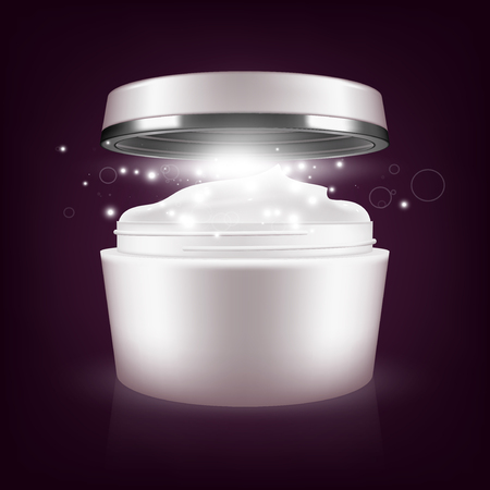 Cream mask blank package model. Illustration on dark background. Graphic concept for your design