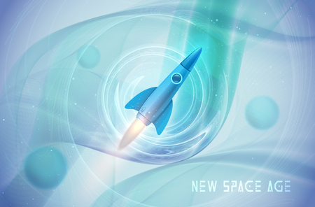 Space rocket concept. Abstract cosmos background, quantum space exploration. Creative idea for your design