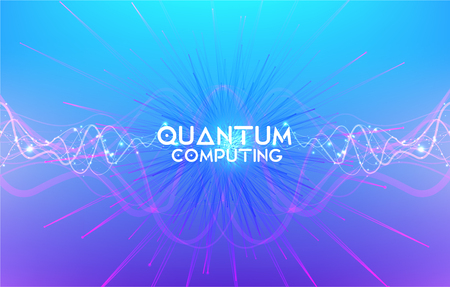 Quantum technology concept. Artificial Intelligence illustration. Data transfer concepts in internet. Futuristic network waves