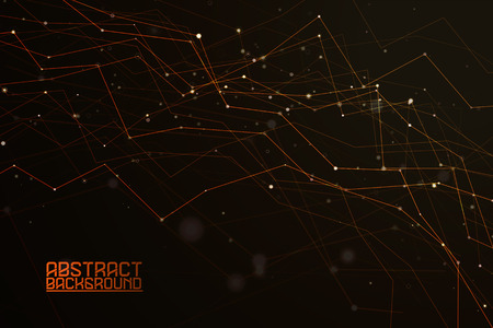 Abstract polygonal shapes. Background with connecting dots and lines. Futuristic molecules on dark background. The technology concept illustration