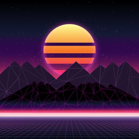 Futuristico paesaggio retrò degli anni '80. Illustrazione astratta del sole con le montagne. Superficie cibernetica retrò digitale. Sfondo del paesaggio wireframe Vettoriali