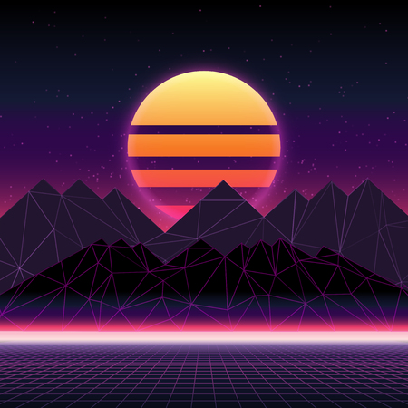 Paisaje retro futurista de los años 80. Ilustración abstracta de sol con montañas. Superficie cibernética retro digital. Fondo de paisaje de estructura metálica Ilustración de vector