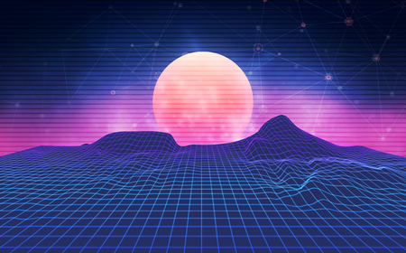 Futuristic retro landscape of the 80`s. Abstract illustration of sun with mountains. Digital retro cyber surface. Wireframe landscape background Иллюстрация