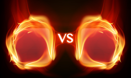 Versus screen with fire frames. Flaming screen for confrontation. Graphic concept for your design
