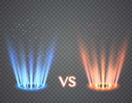 Versus round blue and red glow rays. Illustration isolated on transparent background. Graphic concept for your design  イラスト・ベクター素材