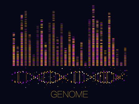 Big genomic data visualization. DNA test, genom map. Graphic concept for your design 일러스트