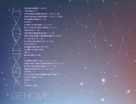 Big genomic data visualization. DNA test, genom map. Graphic concept for your design Stock Illustratie