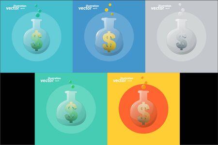 Business icon, chemical laboratory flask, graphic design stylish concept Illusztráció