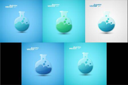 Chemical laboratory flask, graphic design stylish concept Stock Illustratie