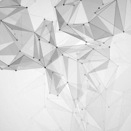 Resumen espacio poligonal. Fondo con puntos y líneas de conexión. La ilustración del concepto