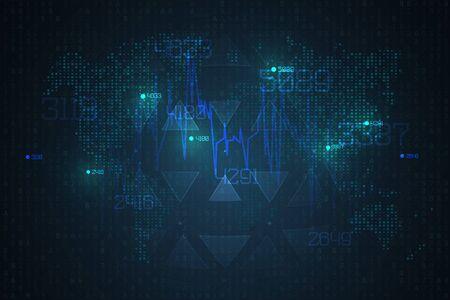 Visualización de infografías abstractas. Representación de código de Big Data. Red futurista o análisis de negocios. Concepto gráfico para su diseño