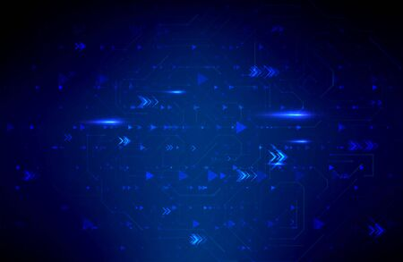 Abstract futuristic illustration in dark blue color background. Creative technology concept. Иллюстрация