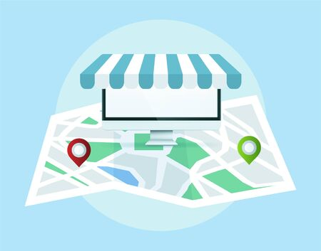 Local seo concept. Map with location markers. Graphic concept for your design Illustration