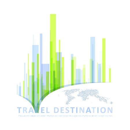 Page of travel destination for a website. Abstract city concept for your design