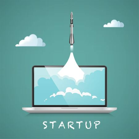 Successful startup business concept. Illustration with rocket launch and laptop on the background