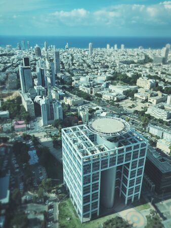 Skyline of Tel Aviv with its skyscrapers. Stunning Aerial View