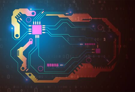 Represent coding technology and programming languages. Futuristic technology representation. Graphic concept for your design