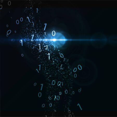 Abstrakter virtueller digitaler Strom. Fließender Binärcode und leuchtende Neonwelle. Cloud-Struktur des Speichers. Big-Data-Transfer-Konzepte im Internet. Grafisches Konzept für Ihr Design