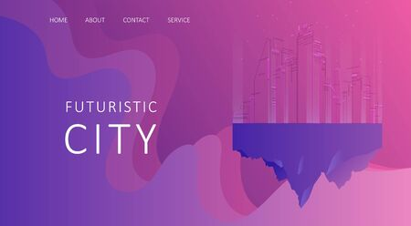 Abstract landing page banner on the Internet. Fantastic city concept for your design