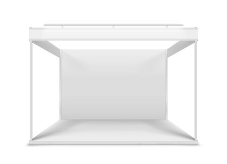 Blank white trade stand. Illustration isolated on white background. Graphic concept for your design 일러스트